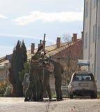 Soldater är utbildning som är utomhus- i Wien, Österrike Royaltyfri Foto
