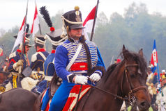 Soldater för Napoleonic krig - reenactors Arkivbilder