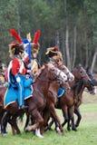 Soldater i blått och rött enhetligt på Borodino Arkivbild