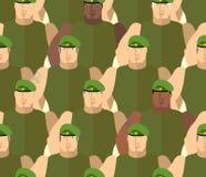 Soldater i gröna basker pressar specialen royaltyfri illustrationer