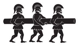 Soldater med en murbräcka vektor illustrationer