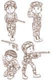 Soldater med vapen Arkivfoto