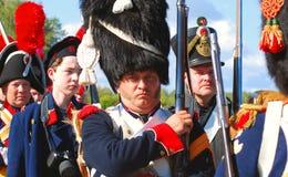 Soldater-reenactors Royaltyfri Bild