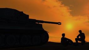 Soldater som talar bredvid behållare på solnedgångbakgrund 2 arkivfilmer
