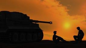 Soldater som talar bredvid behållare på solnedgångbakgrund 2 lager videofilmer