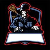 Soldatesportlogo stock illustrationer