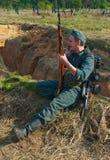 Soldatgespräch durch Telefon Lizenzfreies Stockbild