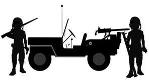 Soldati accanto alla loro jeep Fotografie Stock Libere da Diritti