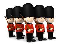 Soldati britannici su bianco, illustrazione 3D Immagine Stock