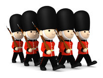 Soldati britannici su bianco, illustrazione 3D Fotografia Stock Libera da Diritti