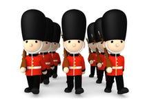 Soldati britannici su bianco, illustrazione 3D Immagini Stock Libere da Diritti