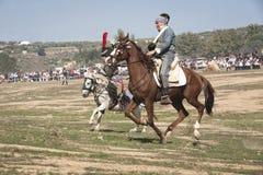 Soldati a cavallo nella rappresentazione della battaglia di Bailen immagini stock libere da diritti