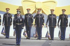 Soldati che tengono le bandierine Immagini Stock