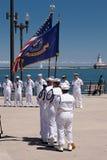 Soldati del blu marino degli Stati Uniti a cerimonia di USS Illinois Fotografia Stock