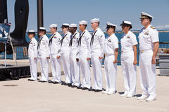 Soldati del blu marino degli Stati Uniti a cerimonia di USS Illinois Fotografia Stock Libera da Diritti