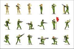 Soldati della fanteria in uniforme cachi militare piena con le pistole durante l'insieme di operazione di guerra del fumetto dell illustrazione di stock
