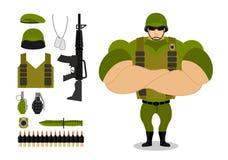 Soldati ed armi Insieme di munizioni militari per la guerra Esercito c illustrazione vettoriale