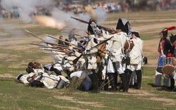 Soldati francesi che sparano al nemico nella rappresentazione della battaglia di Bailen immagini stock libere da diritti