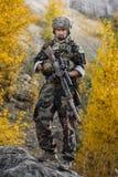 Soldati in uniforme che sta con le armi Immagine Stock Libera da Diritti