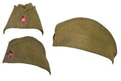 Soldatkappe der russischen Armee in der Zeit des Kommunismus lizenzfreie stockfotografie