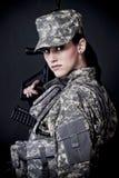 soldatkvinna Fotografering för Bildbyråer