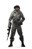 Soldatmann-Griff Maschinengewehr auf einem weißen Hintergrund Lizenzfreie Stockbilder