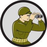 Soldato americano Binoculars Circle Cartoon della seconda guerra mondiale Immagine Stock Libera da Diritti