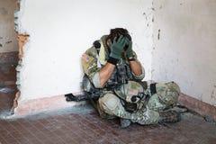 Soldato americano colpito Fotografia Stock Libera da Diritti