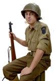 Soldato americano con un fiore fotografie stock