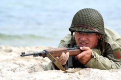 Soldato americano di fucilazione Fotografie Stock
