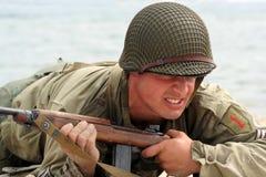 Soldato americano strisciante Fotografie Stock Libere da Diritti
