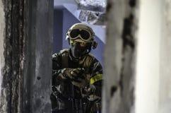 Soldato antiterroristico di addestramento Fotografia Stock Libera da Diritti