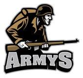 Soldato Carrying la mascotte del fucile Fotografie Stock