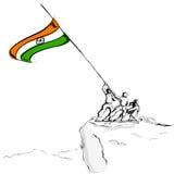 Soldato che alza bandierina indiana Immagine Stock Libera da Diritti