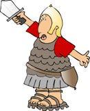 Soldato che solleva il suo livello della spada Immagine Stock Libera da Diritti
