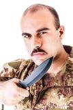 Soldato con il coltello fotografia stock