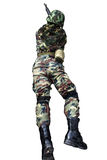 Soldato con il fucile di assalto Fotografia Stock