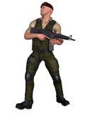Soldato con l'arma Fotografie Stock Libere da Diritti
