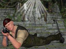 Soldato con l'arma Immagini Stock