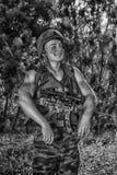 Soldato con l'arma Fotografie Stock