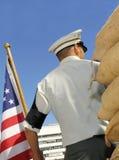 Soldato con la bandiera americana Fotografia Stock Libera da Diritti