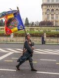 Soldato con la bandiera di combattimento Fotografie Stock Libere da Diritti