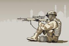 Soldato con un fucile Fotografia Stock Libera da Diritti