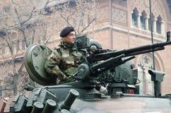 Soldato con una mitragliatrice Immagini Stock
