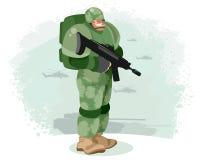 Soldato con una pistola illustrazione di stock