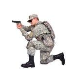 Soldato degli Stati Uniti con la pistola Fotografia Stock Libera da Diritti