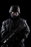 Soldato dei ops di spec. su fondo nero Fotografia Stock Libera da Diritti