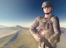 Soldato del deserto Fotografia Stock Libera da Diritti