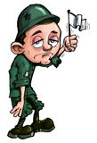 Soldato del fumetto che fluttua una bandierina bianca Fotografie Stock Libere da Diritti