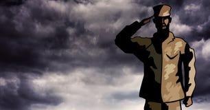 Soldato del fumetto che saluta contro le nuvole di tempesta illustrazione vettoriale